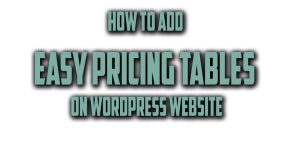 How to Add Pricing Table