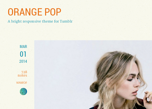 Orange Pop Tumblr Theme