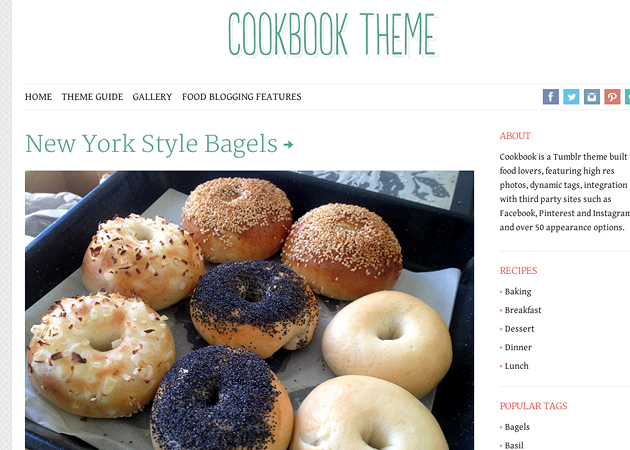 Cookbook tumblr theme