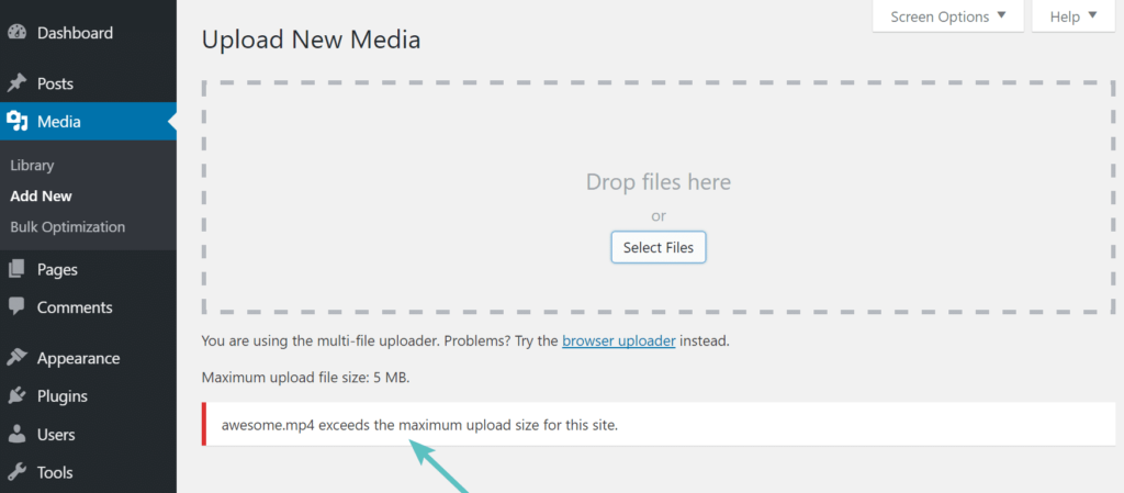 File upload problem wordpress