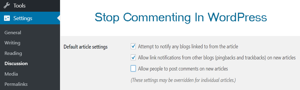 Stop Commenting in WordPress