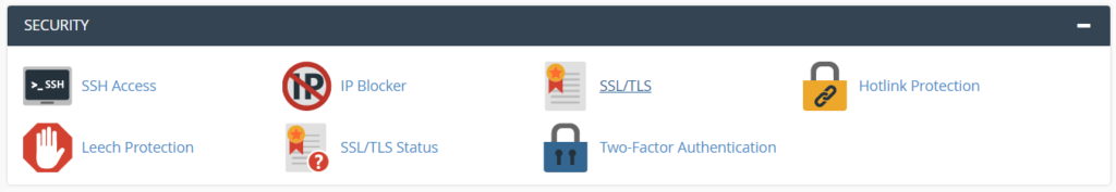 ssl tls option in cpanel hosting