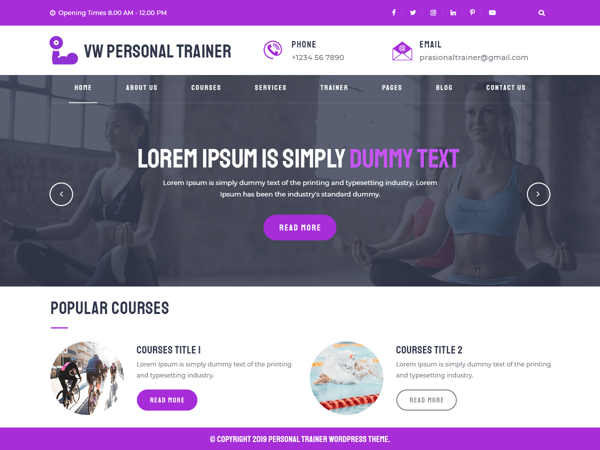 VW Personal Trainer website