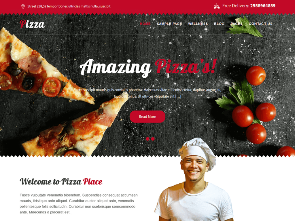 pizza delivery free wordpress theme