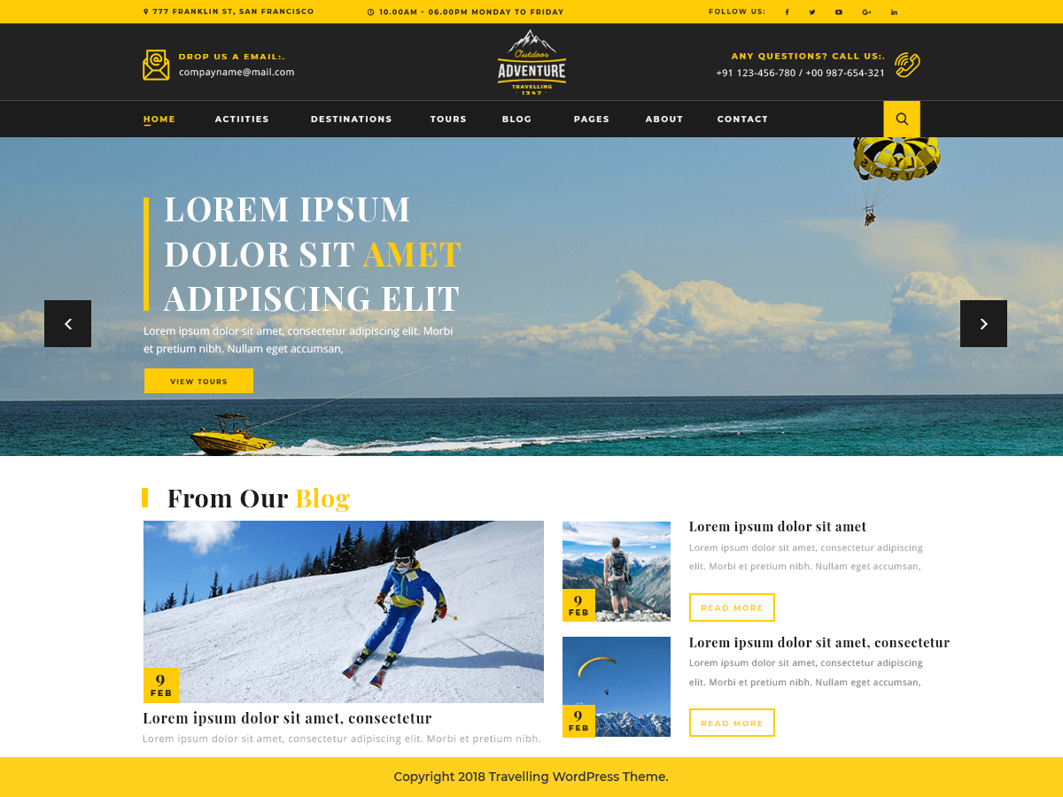 Adventure Travelling Free Tour Management WordPress Theme