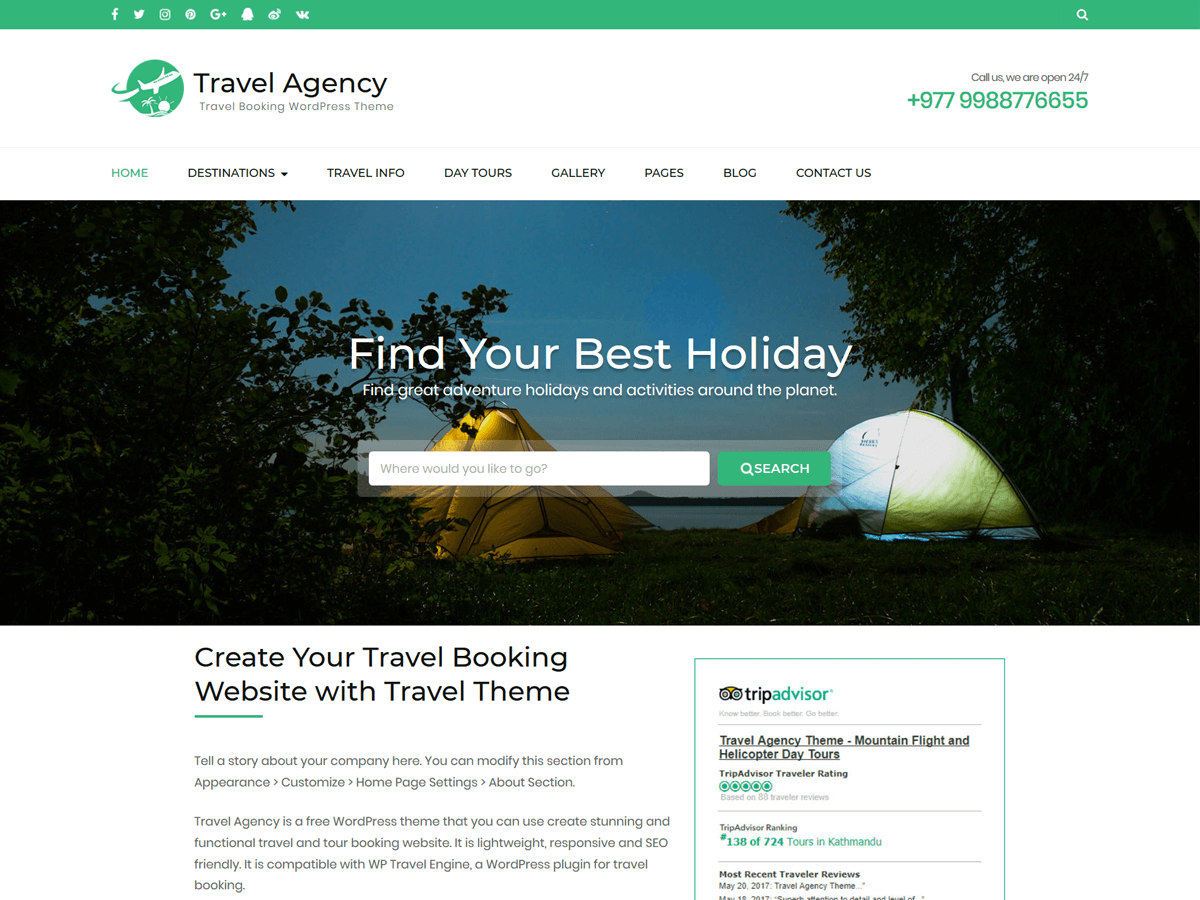 Free Travel & Tour Booking WordPress Theme
