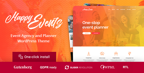 Happy Events - Holiday Planner & Event Agency WordPress Theme