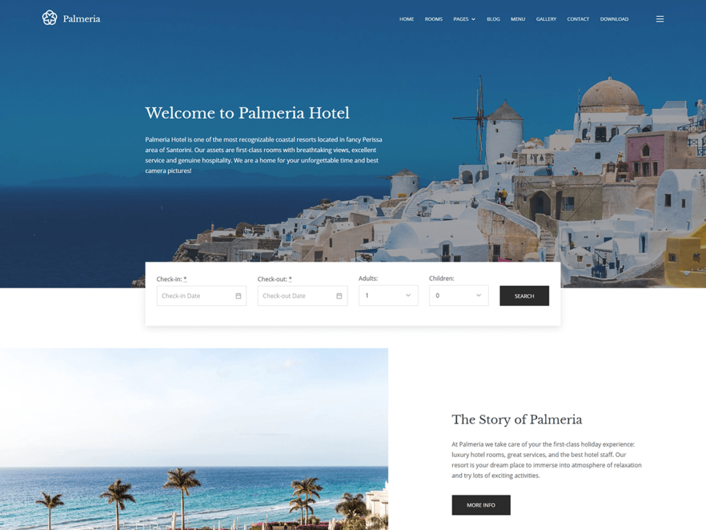 Palmeria Free WordPress Booking Management Theme
