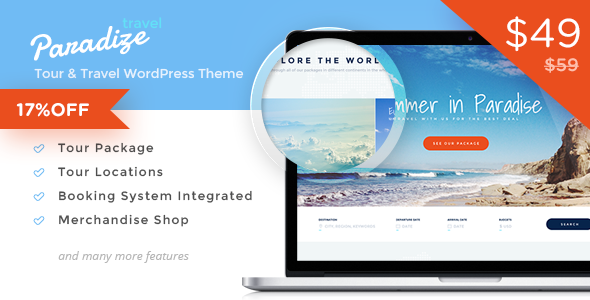 Paradize - WordPress Tour or Travel Theme Like Trivago