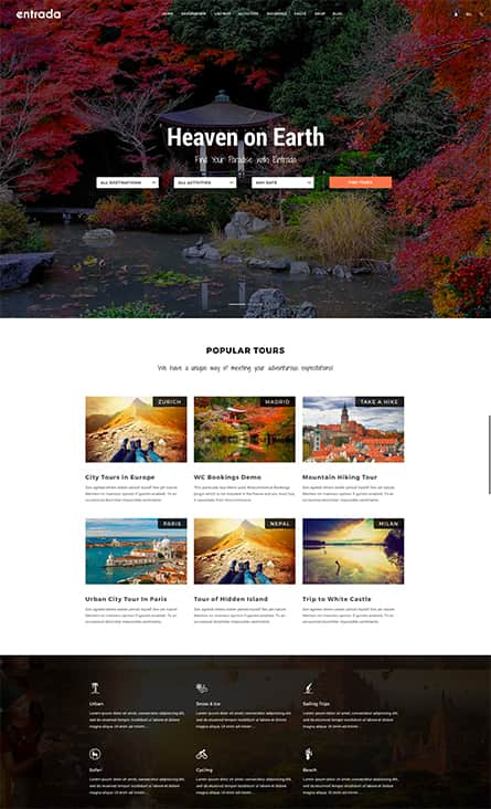 Tour Booking - Tour Adventure WordPress Theme - Entrada