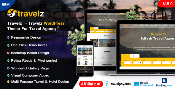 Travelz - Affordable Price WordPress Theme for Tour Agency