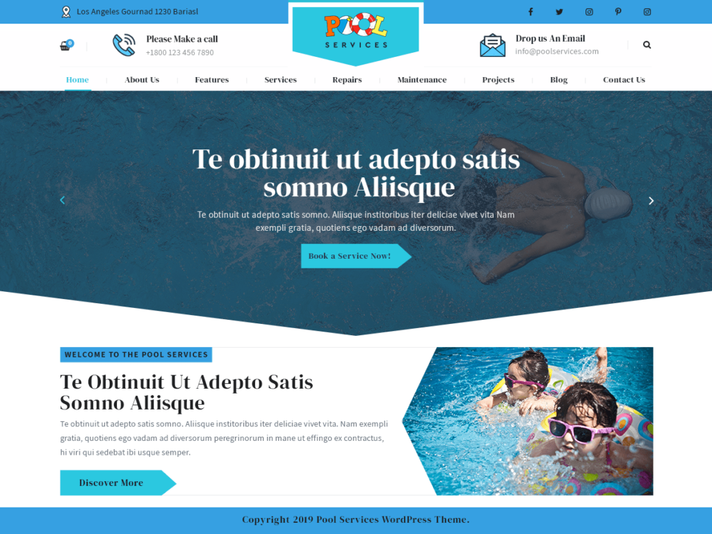 free pool service WordPress Theme
