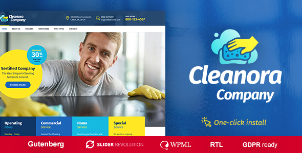 Cleanora best Cleaning Service wordpress Theme